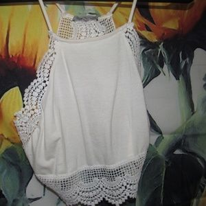 White Lace Crop Tang Top